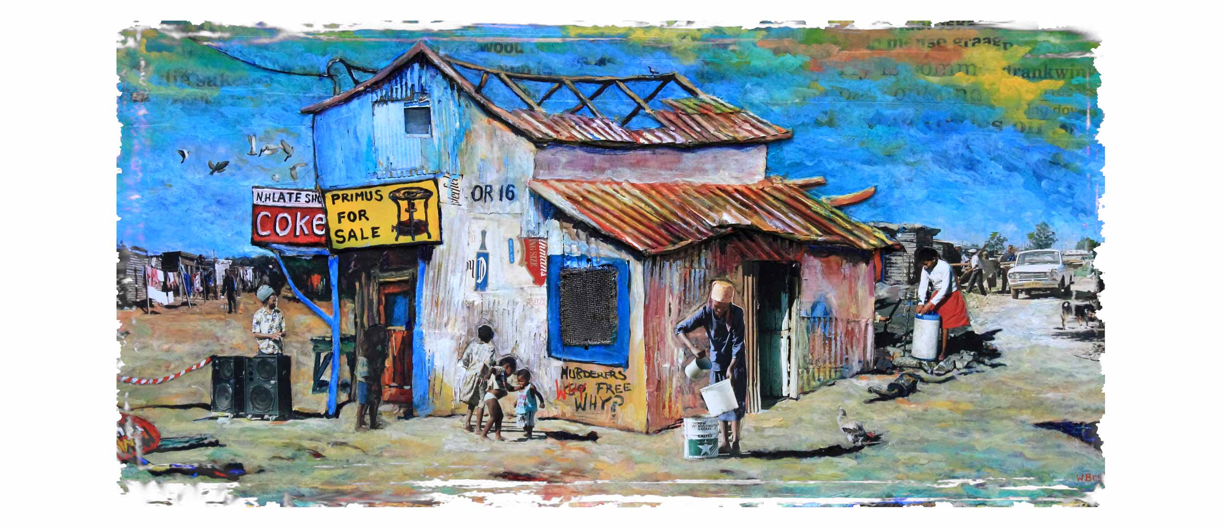 Willie Bester Township scene Home Page Banner Art Works