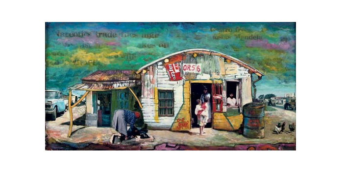 Willie Bester South-African Street Scene Art works Collage 1995