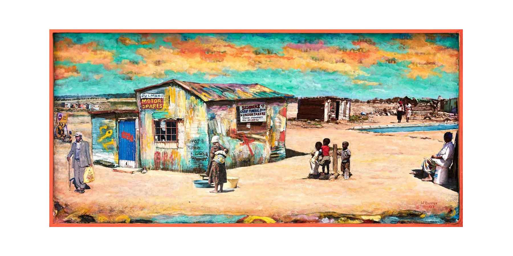 Willie Bester Township Scene Art works Collage 2007