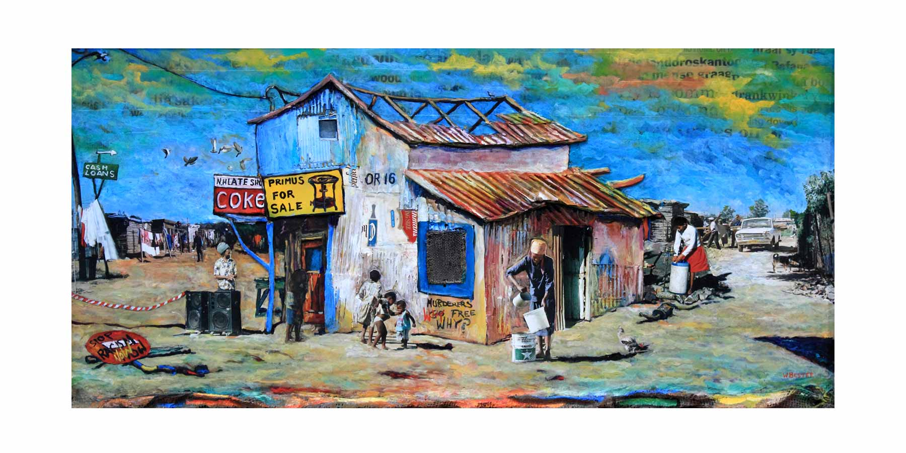 Willie Bester Township Scene Art Works Collage 1997