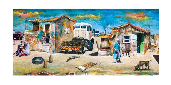 Willie Bester Truck, Barber Spaza Shop Art works Collage 2003