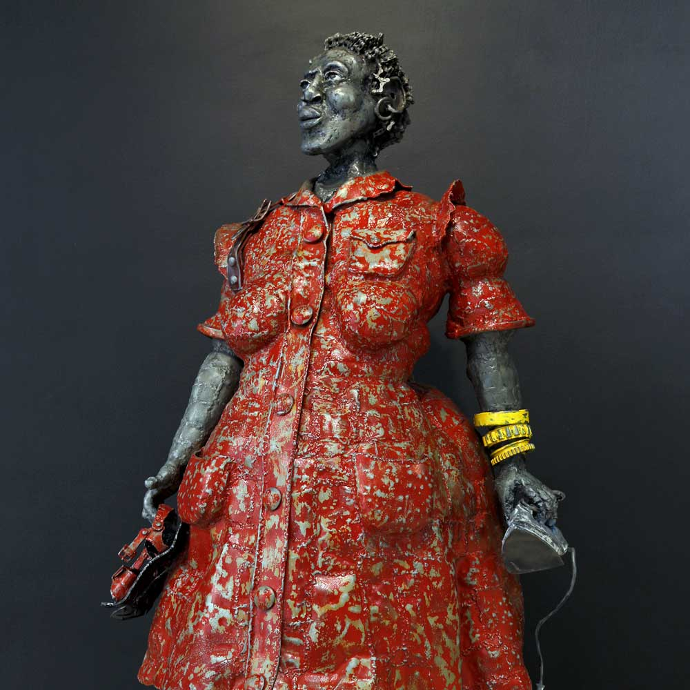Willie Bester Domestic Worker In Red Dress - Art works Sculpture 2010