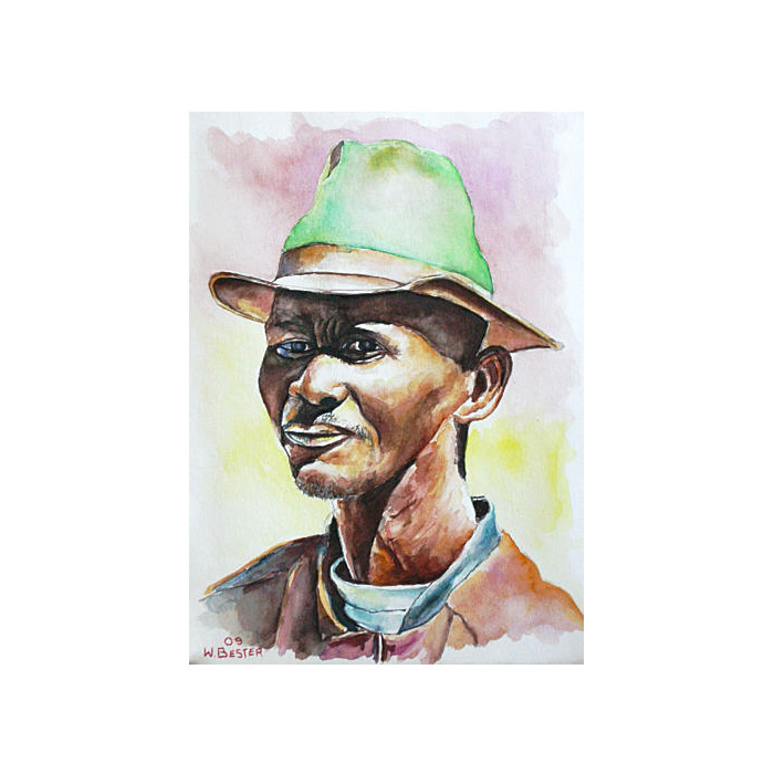 Willie Bester Portrait 5 Art works Watercolour 2009