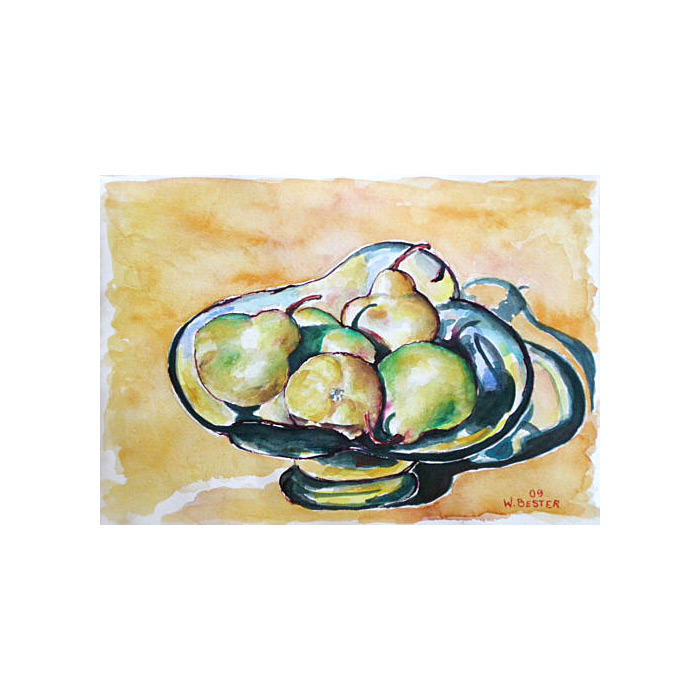 Willie Bester Still Life Pears - Art works Watercolour 2009