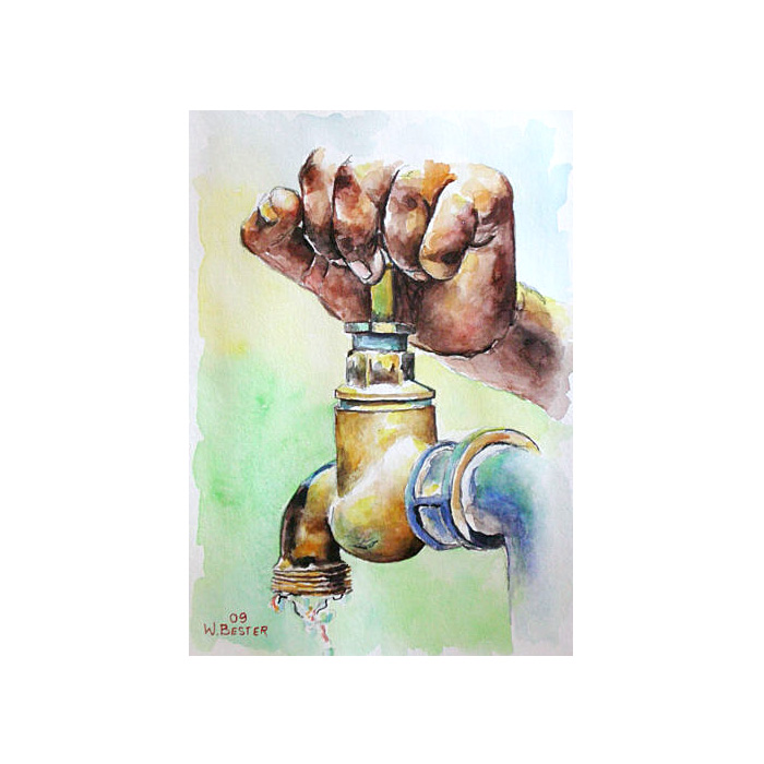 Willie Bester Tap Art works Watercolour 2009